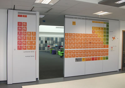 printed fabric moveable walls installed by building additions into Somerset College