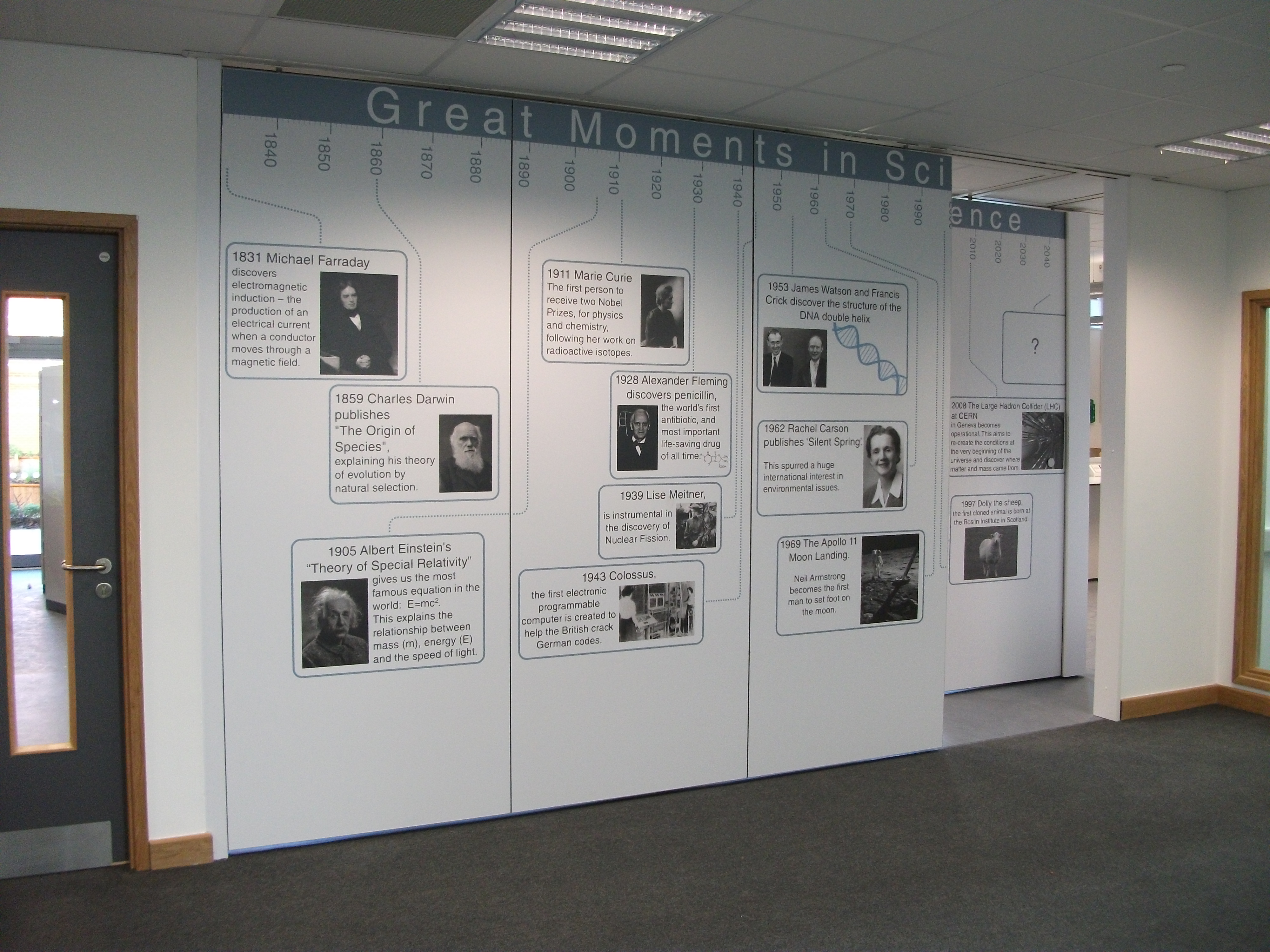 moveable wall sliding room divider in a school with printed graphics on the panels