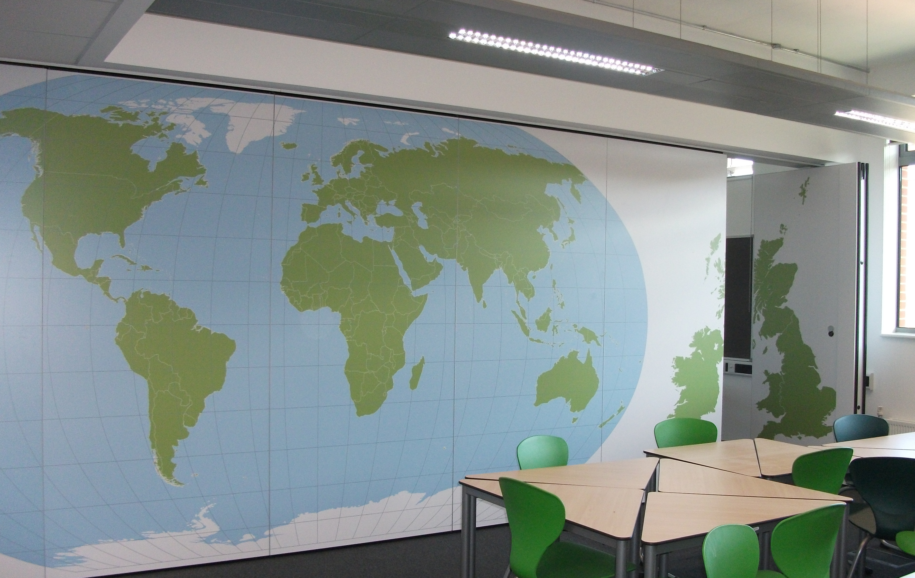 operable wall with printed graphics